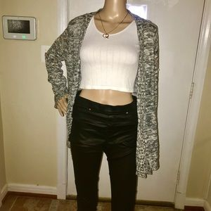 Sweaters - Black& White Knit Style Open Front Cardigan